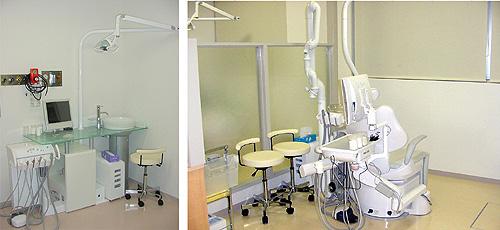 ■歯科治療室大掛かりな治療機器は必要最低限にしているという歯科クリニックの一般治療スペース。やわらかな色調で統一され、恐怖心も薄れる感じ。(写真上) ベッドやストレッチャーのままでも治療が可能な診療台。(写真左)
